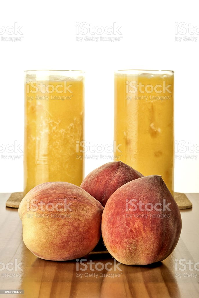 Fresh peaches and juice royalty-free stock photo