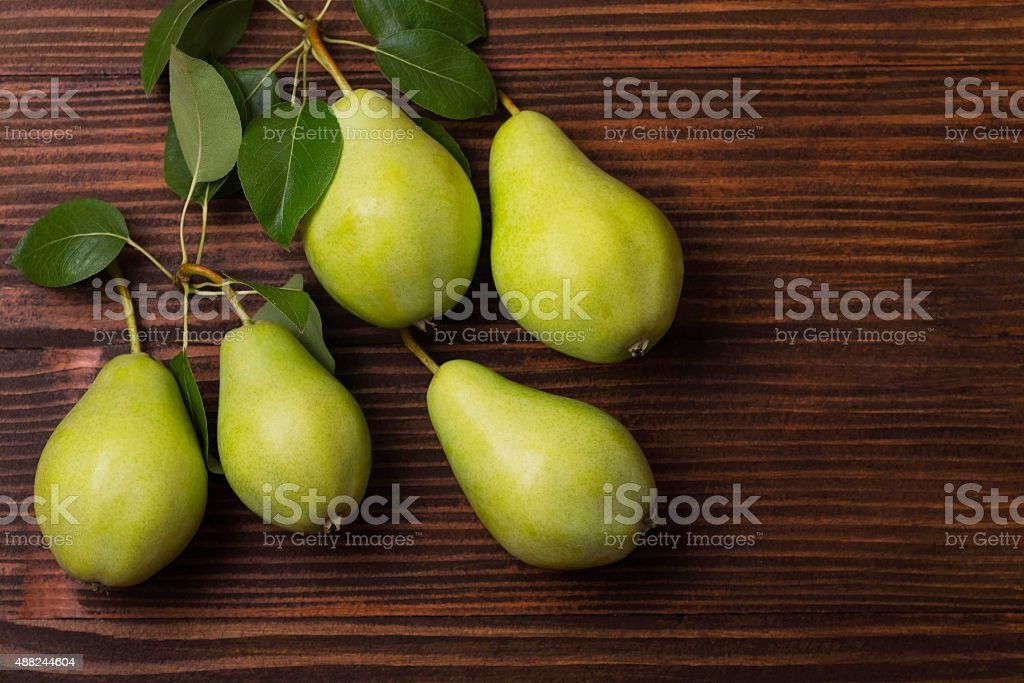 Fresh Pears on a wooden Background royalty-free stock photo