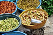 fresh peas selling at market
