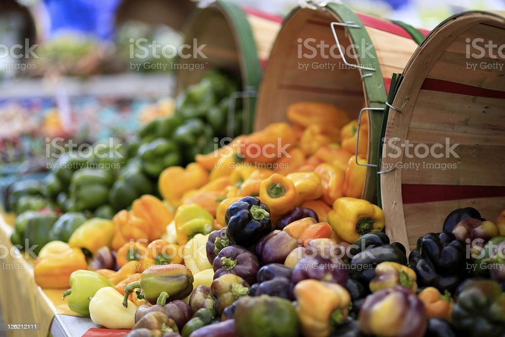 Fresh Peppers at Fall Festival stock photo