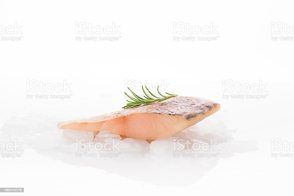 Fresh perch fish fillet isolated stock photo