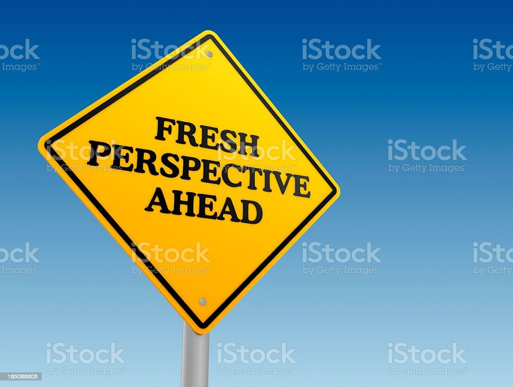 Fresh perspective ahead road signage stock photo