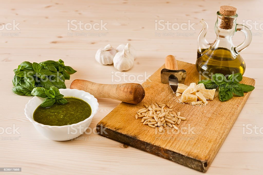 Fresh pesto genovese with its ingredients stock photo