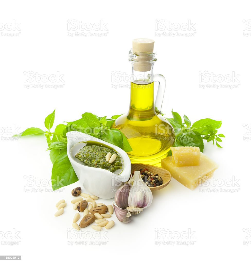 Fresh pesto ingredients in blank background royalty-free stock photo
