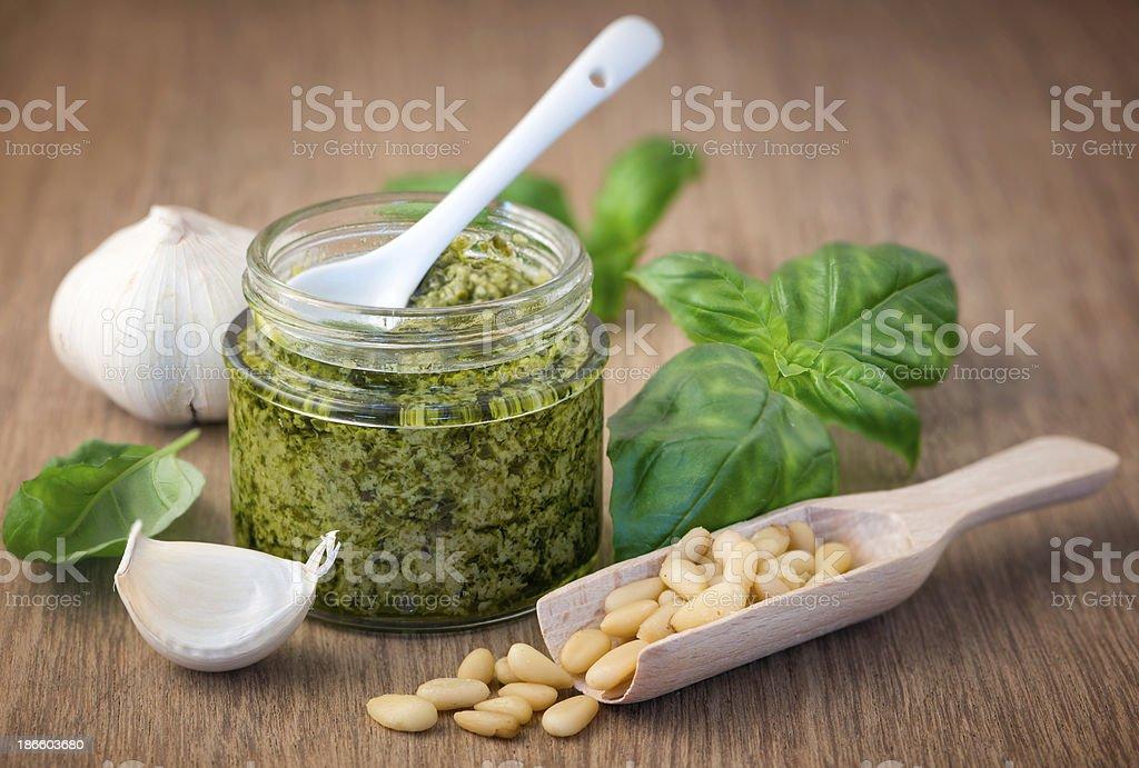 Fresh pesto with basil stock photo