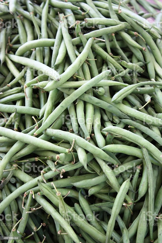 Fresh picked green beans, close up stock photo