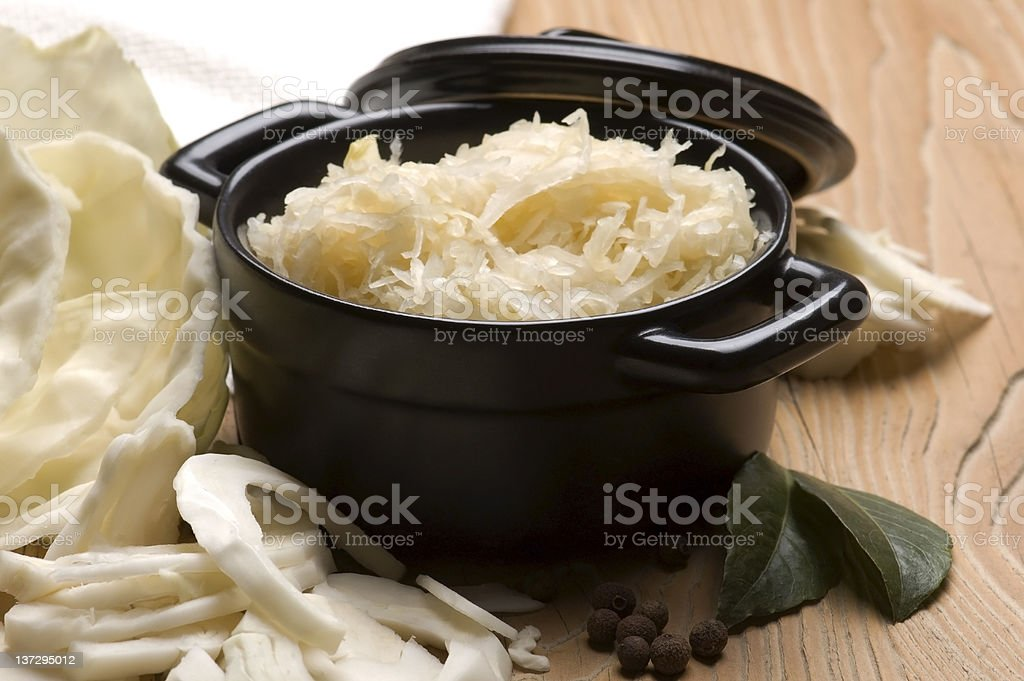 Fresh pickled cabbage - traditional polish sauerkraut stock photo