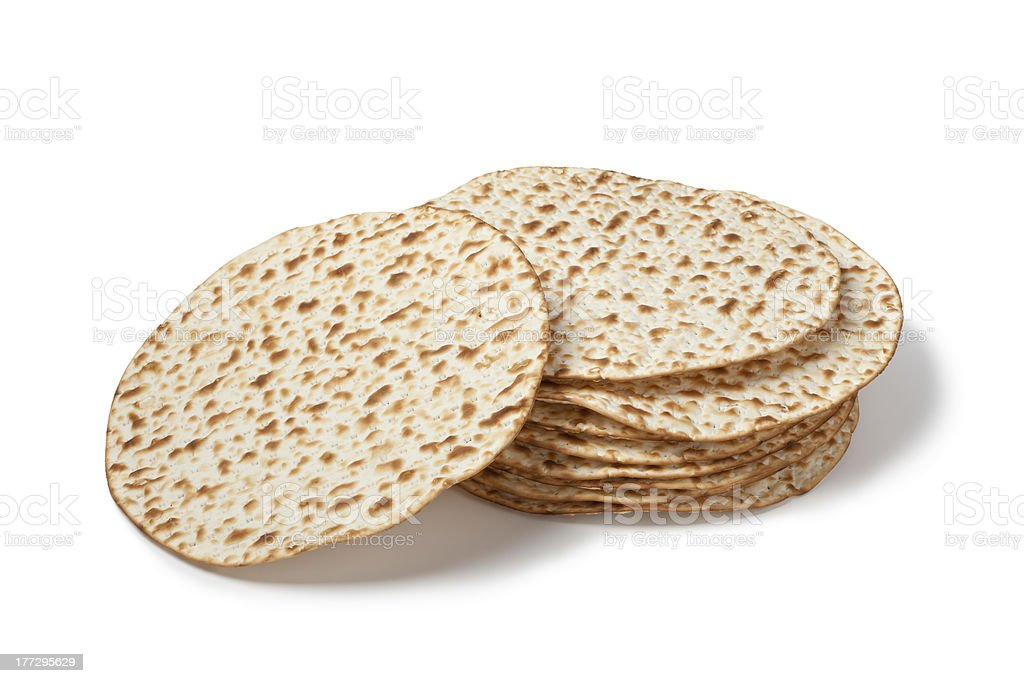 Fresh pile of matzah stock photo