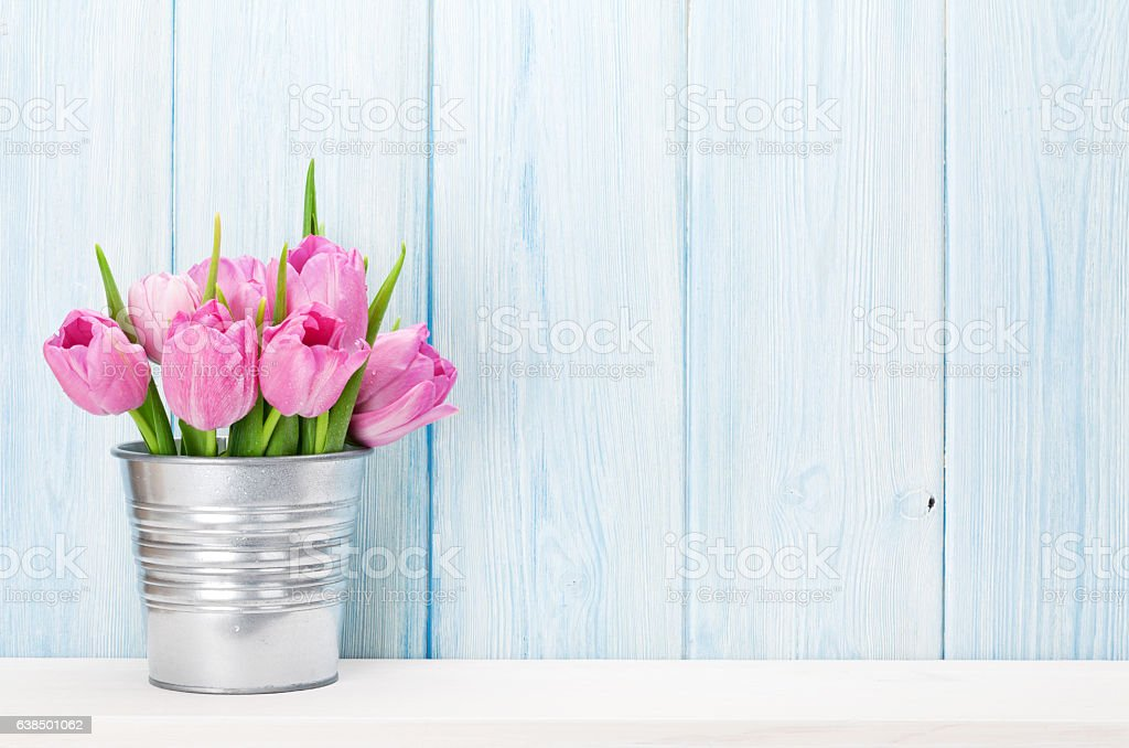 Fresh pink tulip flowers bouquet stock photo