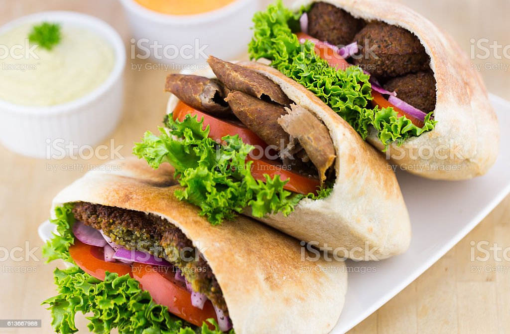 Fresh Pita Meal: Falafel and Shawarma stock photo
