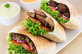 Fresh Pita Meal: Falafel and Shawarma