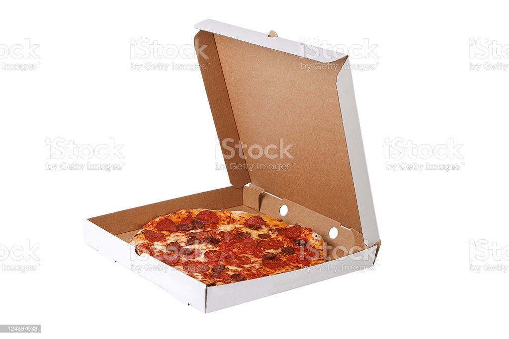 Fresh pizza in plain open box stock photo
