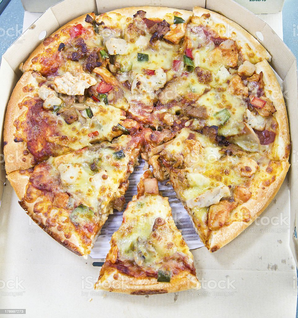 Fresh pizza in the dilivery box royalty-free stock photo