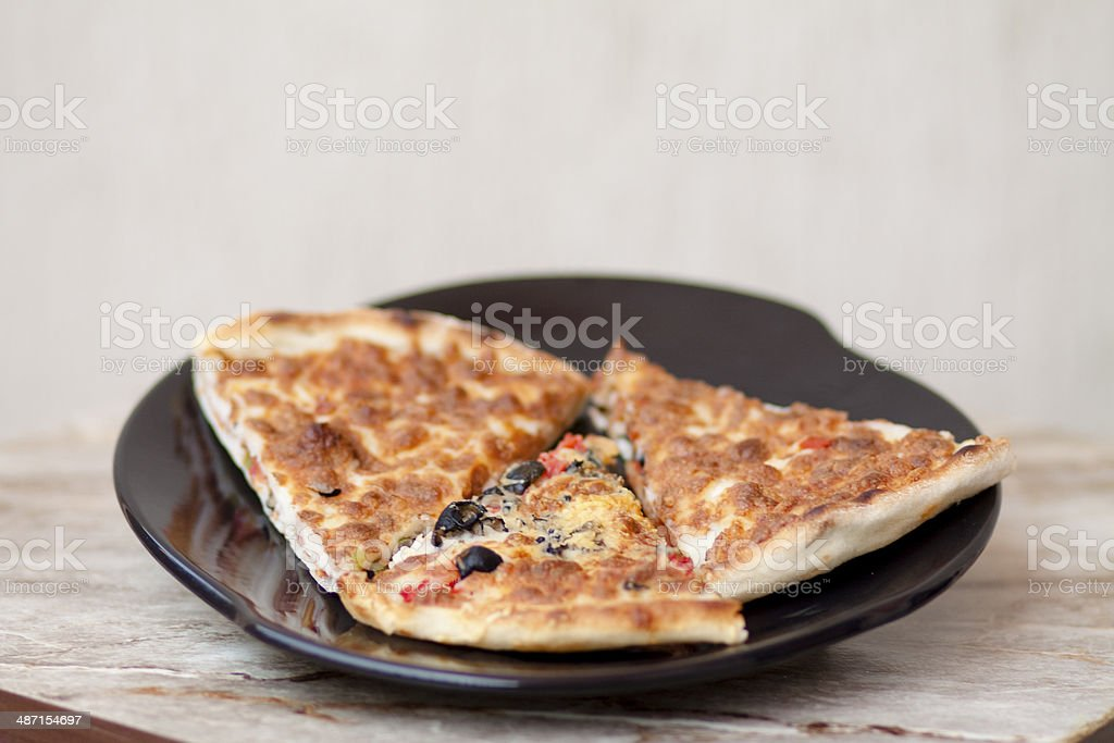 Fresh pizza with cheese stock photo