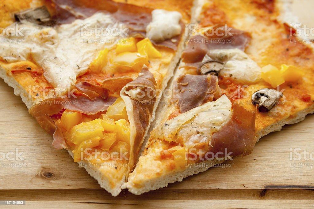 Fresh pizza with ham stock photo