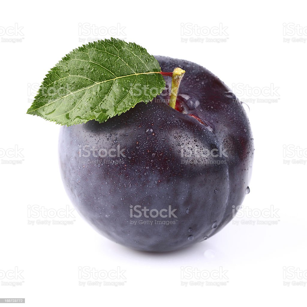 Fresh plum with leaf stock photo