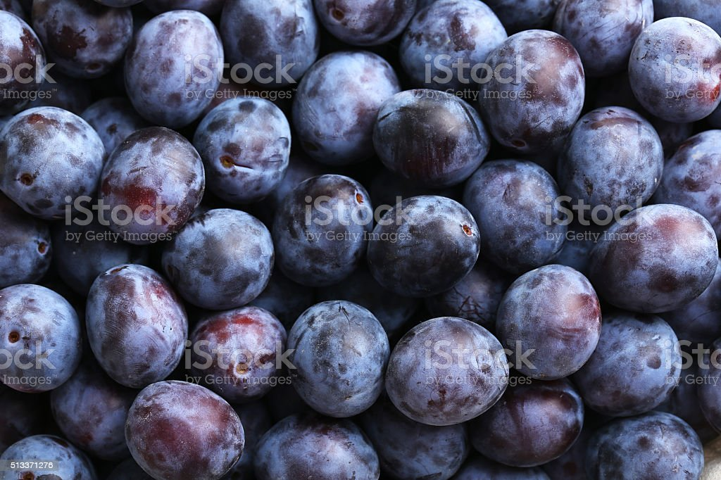 Fresh plums background stock photo
