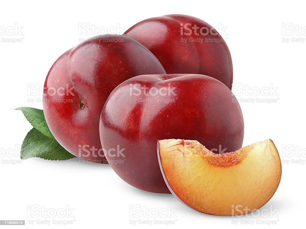 Fresh plums on white background royalty-free stock photo