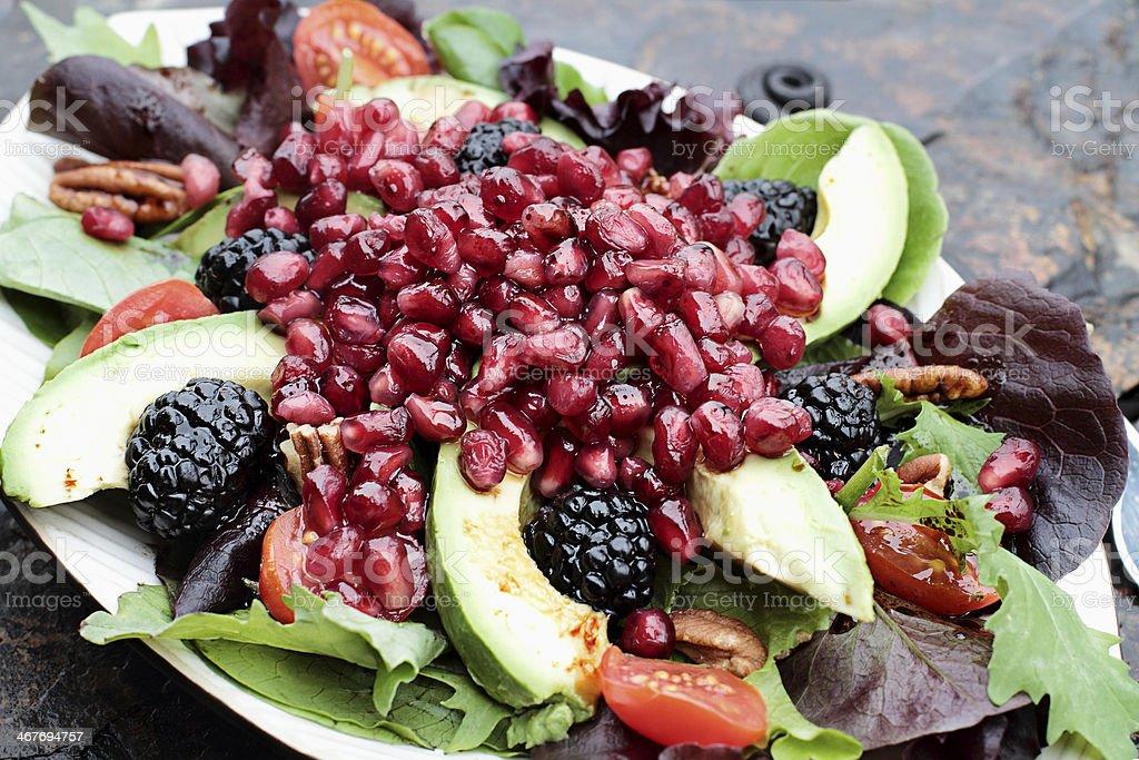 Fresh Pomegranate and Avocado Salad stock photo