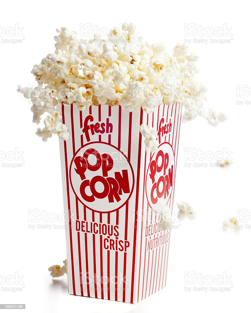 Fresh Popcorn: Bursting from the Box with Flavor Explosion stock photo