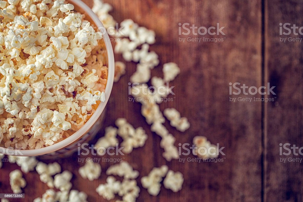 Fresh Popcorn in a Jumbo Popcorn Box stock photo
