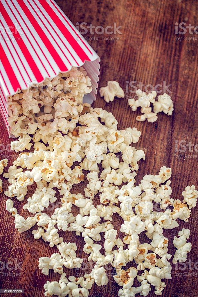 Fresh Popcorn in a Large Popcorn Box stock photo