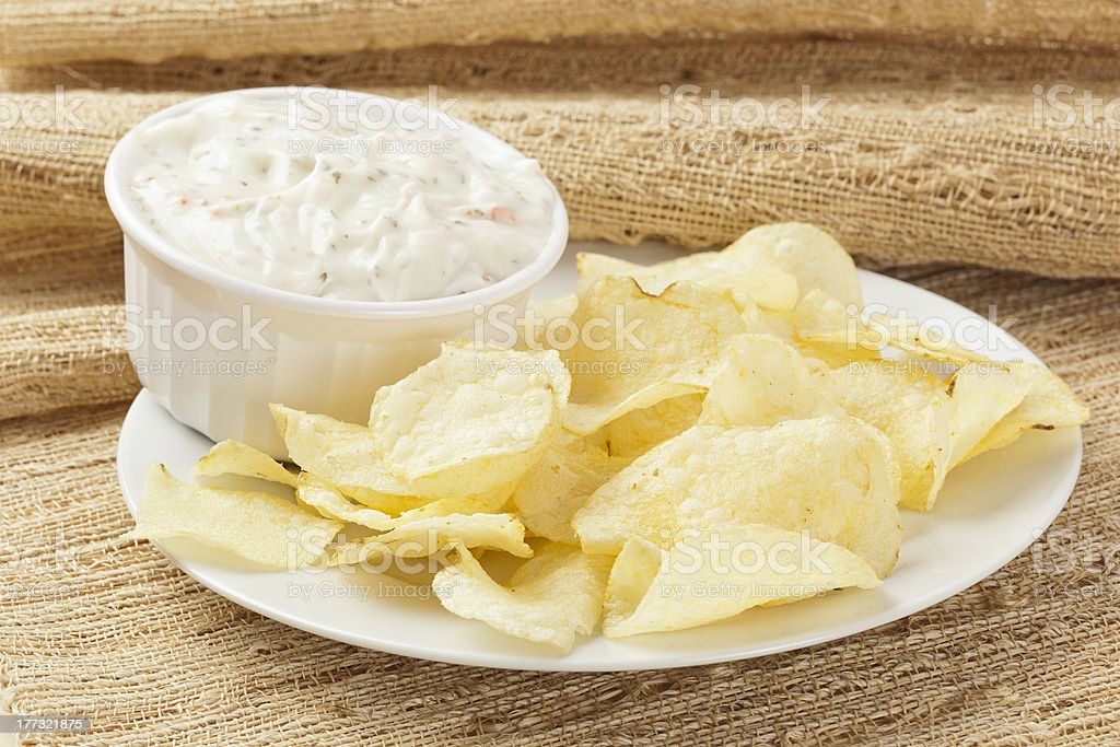 Fresh Potato Chips with Ranch Dip stock photo
