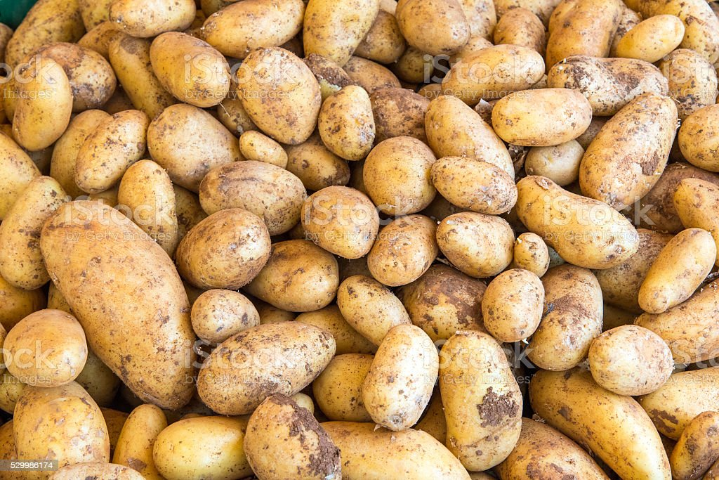 Fresh potatoes at a market stock photo