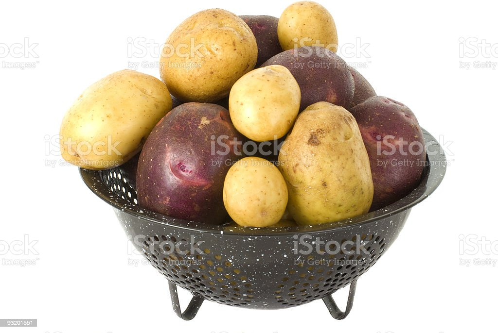 Fresh Potatoes in Colender stock photo