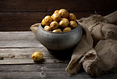 Fresh potatoes in old traditional Russian pot
