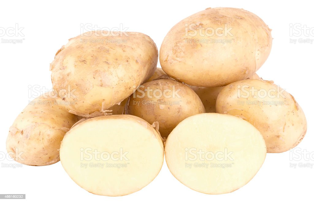 fresh potatoes isolated. sliced potatoes, cut potatoes. stock photo