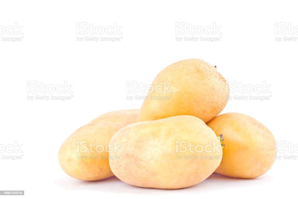 fresh  potatoes tubers on white background healthy potato Vegetable food isolated stock photo