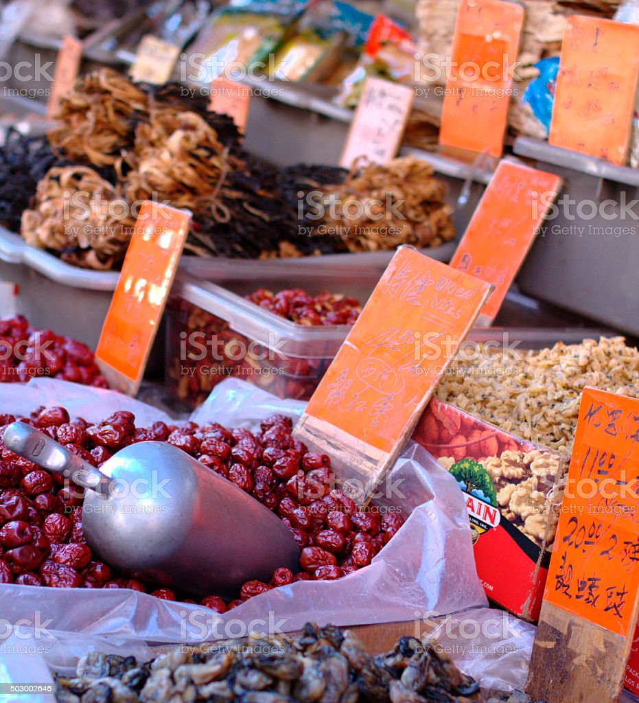 Fresh products displayed in Chinatown stock photo