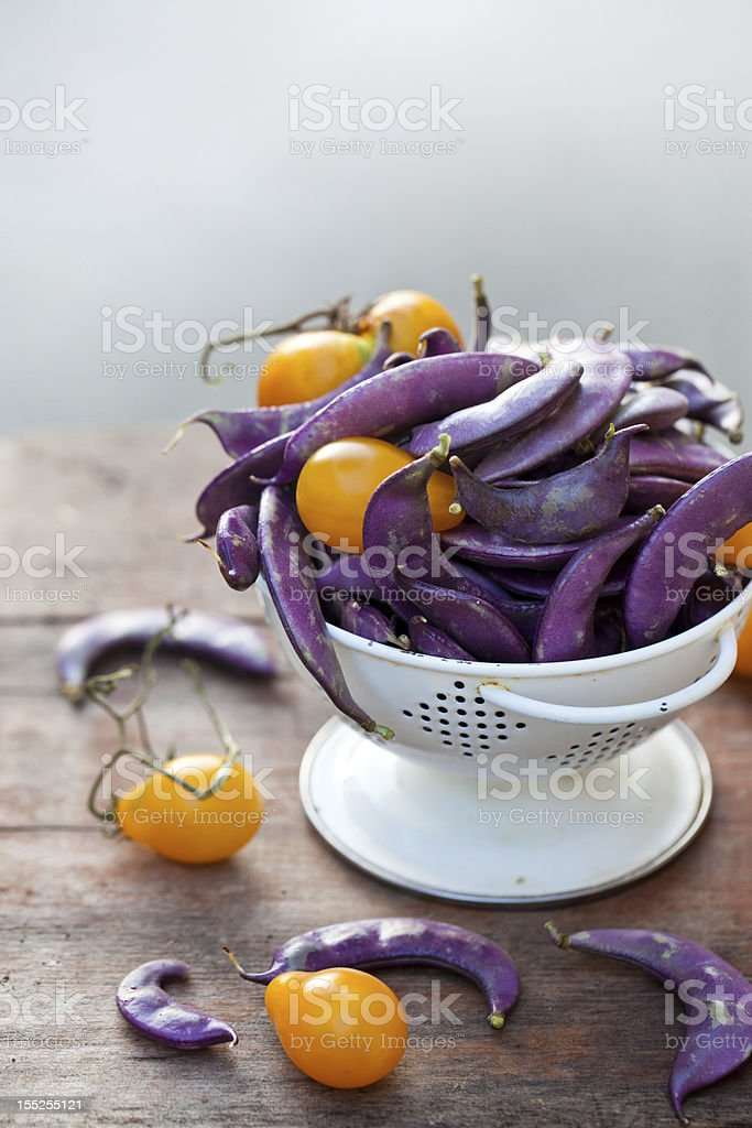 Fresh purple beans and yellow tomatoes in the white colander royalty-free stock photo