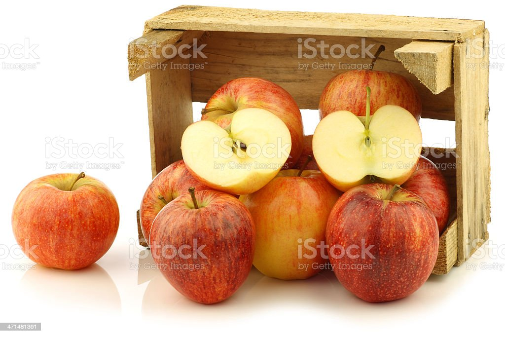"""fresh """"royal gala"""" apples and a cut one royalty-free stock photo"""
