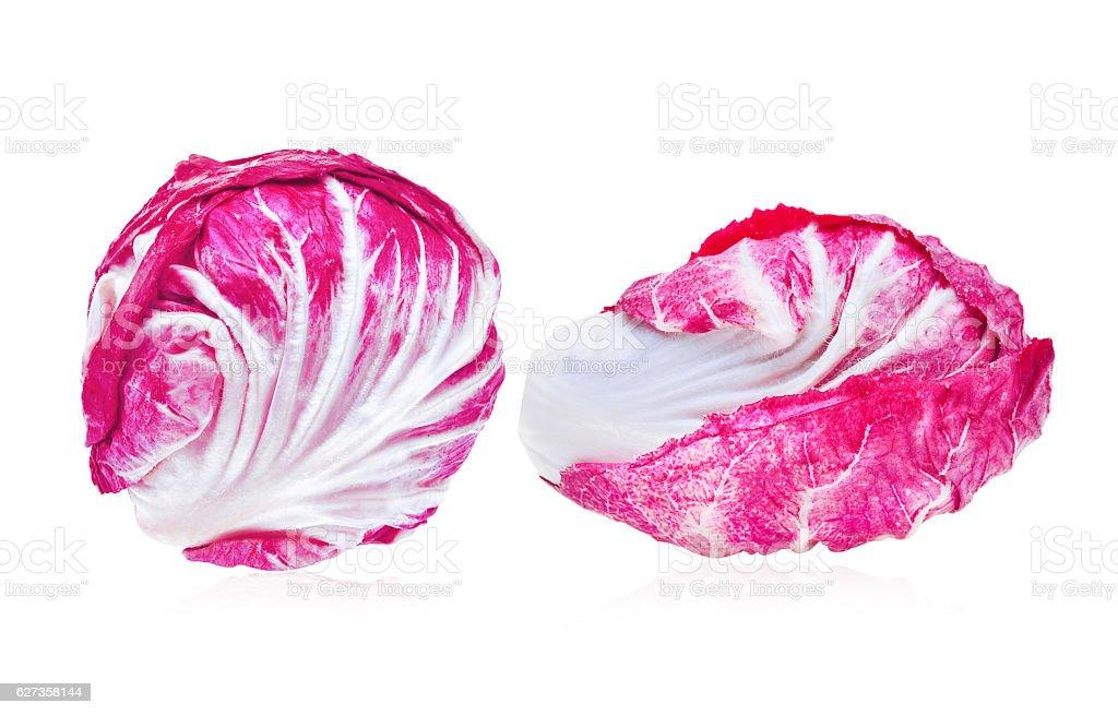 fresh radicchio (red salad) isolated on white background stock photo