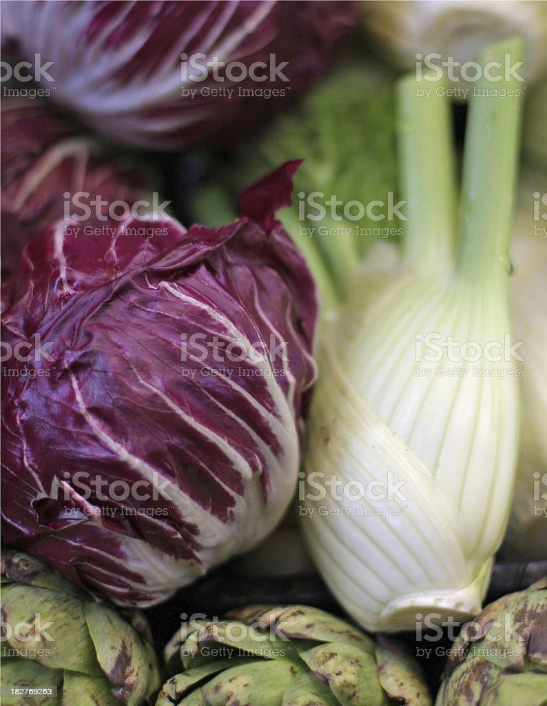 Fresh Radiccio, Fennel and Artichoke at a Market Stall, Canada stock photo
