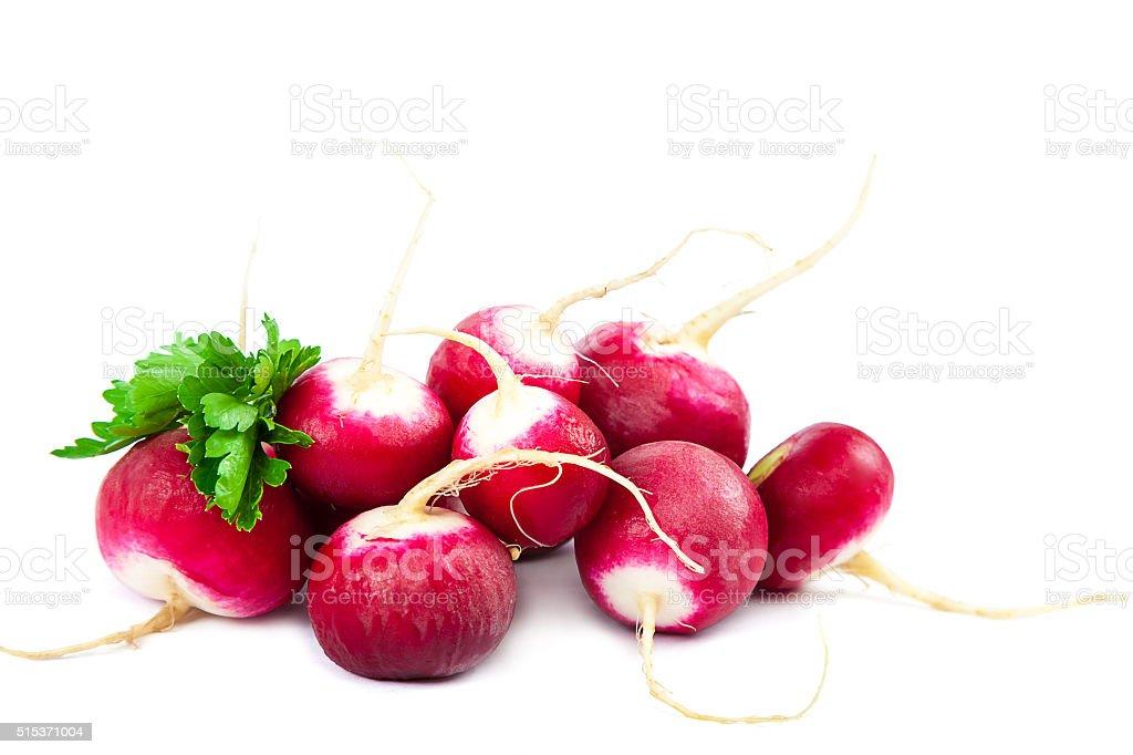 Fresh radish on white background. stock photo