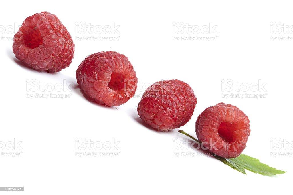 fresh raspberries isolated stock photo