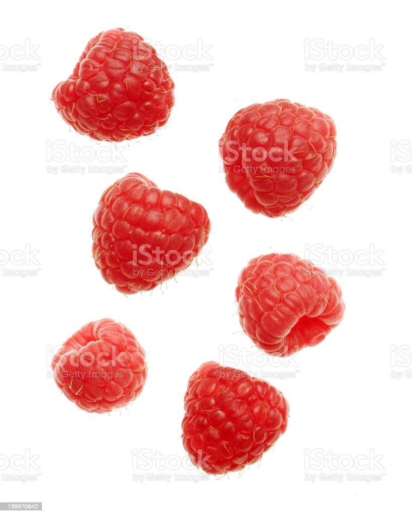 Fresh raspberries on a white background stock photo