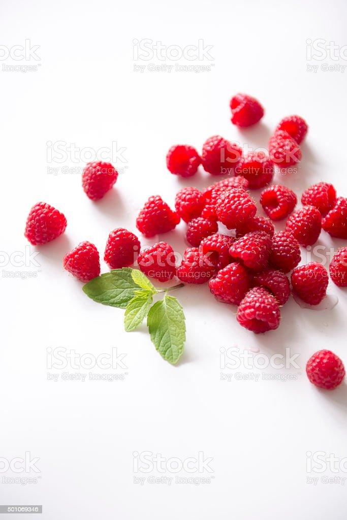 Fresh raspberries, white background stock photo