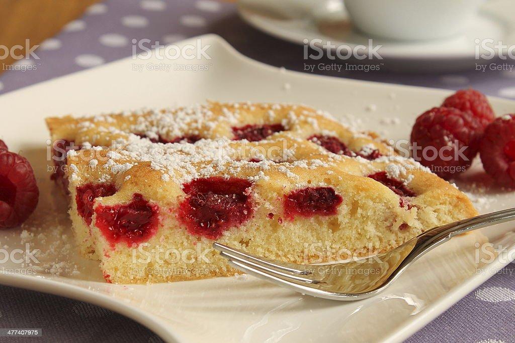 fresh raspberry cake stock photo