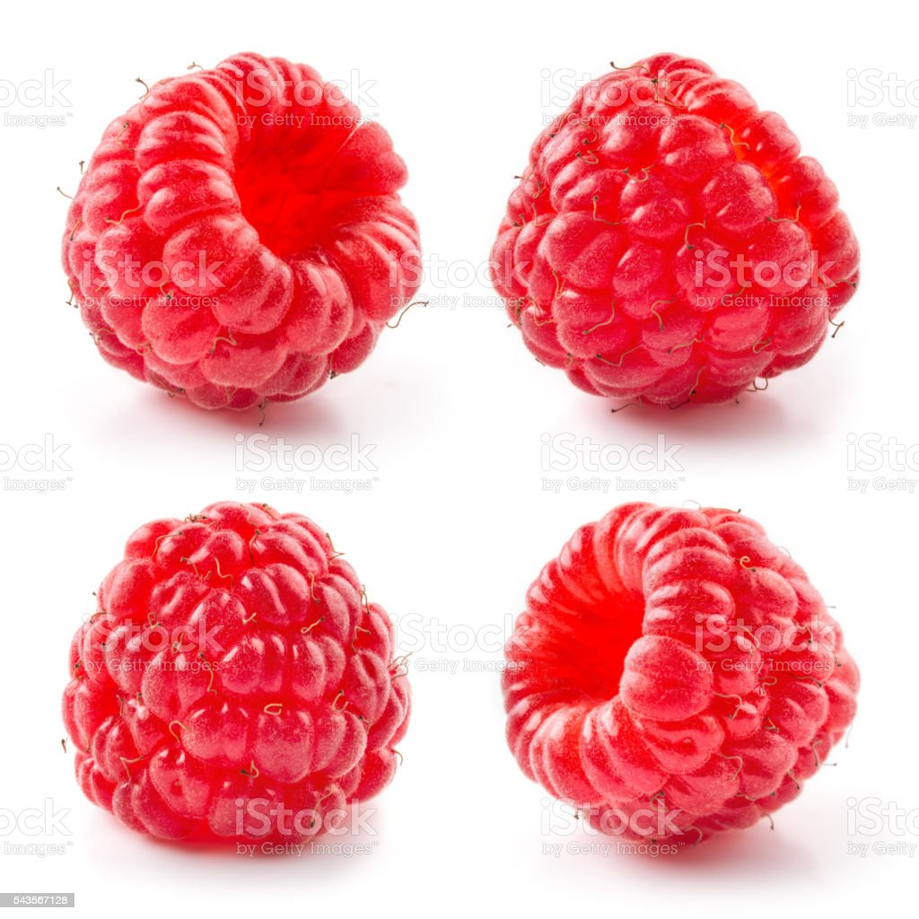 Fresh raspberry isolated on white background. Collection. stock photo