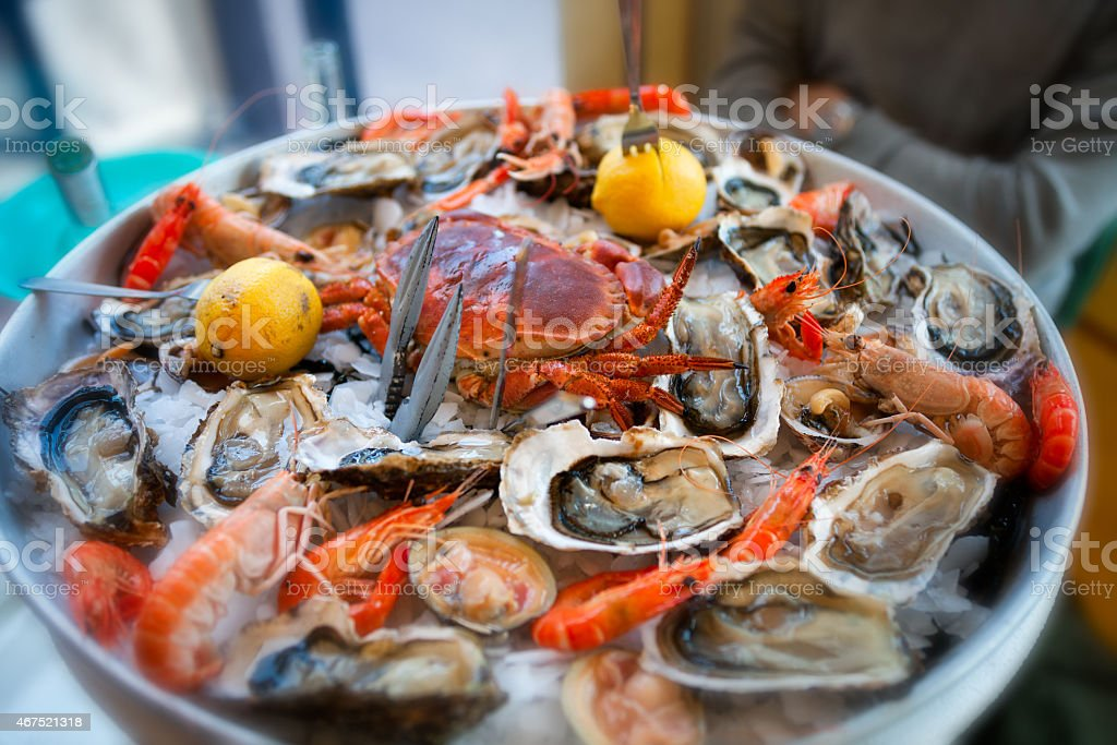 Fresh, Raw and Cooked Seafood Platter, Cannes, France stock photo