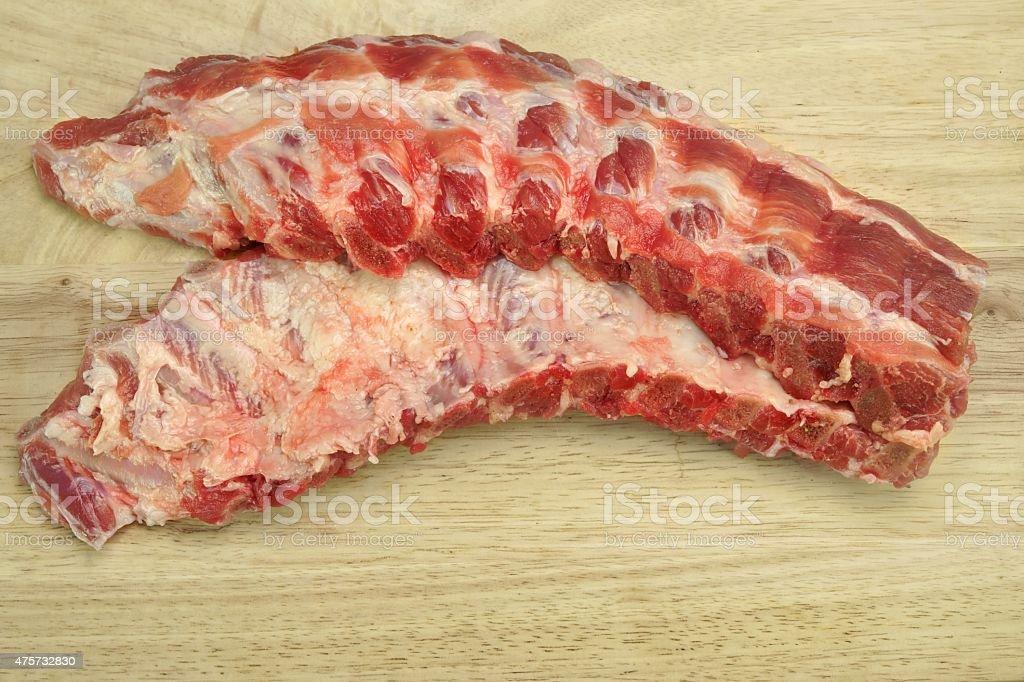 Fresh Raw Baby Back Pork Ribs Closeup stock photo