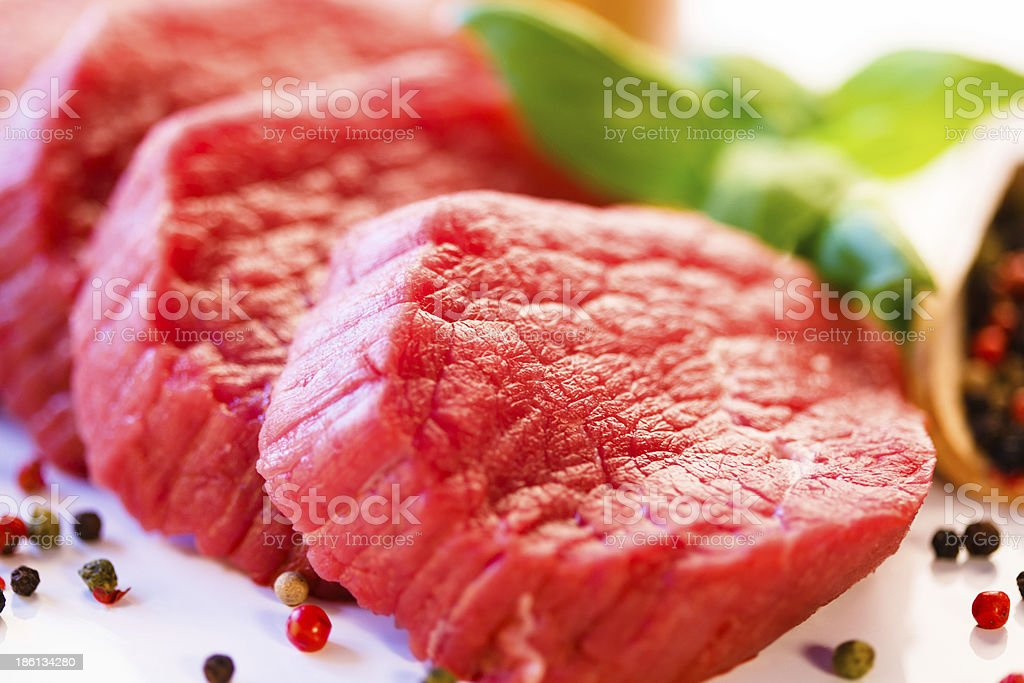 Fresh raw beef on white background royalty-free stock photo