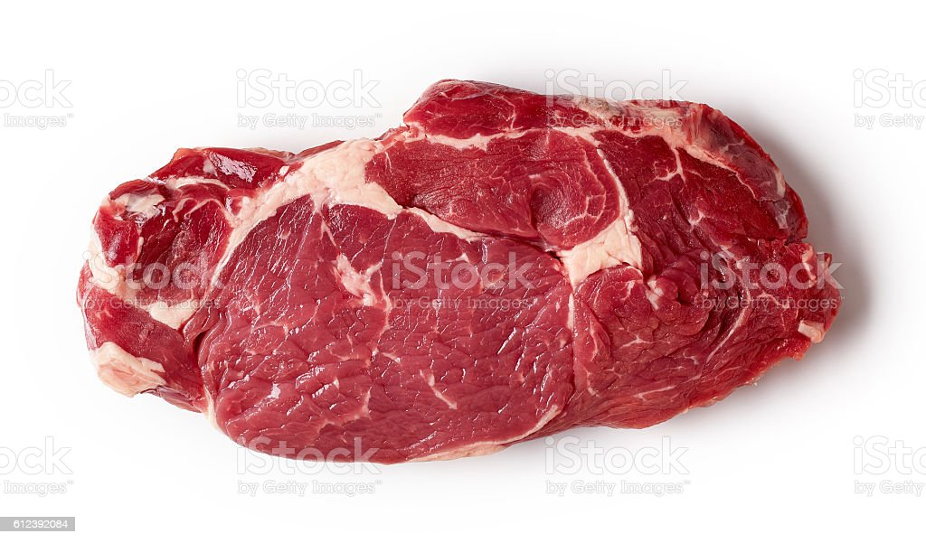 Fresh raw beef steak isolated on white, from above stock photo