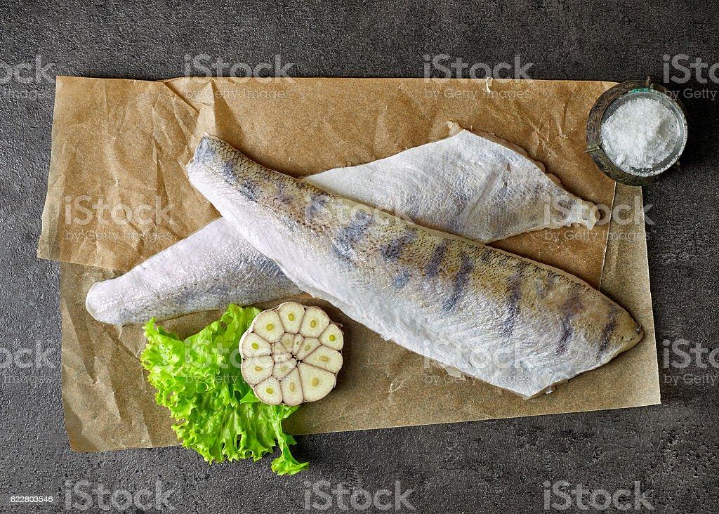 fresh raw fish fillets stock photo