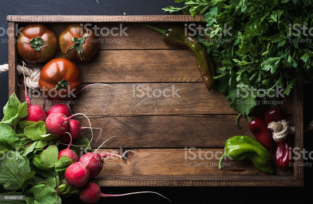 Fresh raw ingredients for healthy cooking or salad making on stock photo