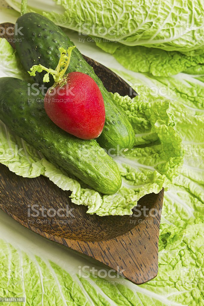 Fresh raw lettuce and herbs stock photo